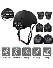 ValueTalks Kids Helmet and Pads Set Adjustable Kids Skateboard Helmet Knee Pads Elbow Pads Wrist Pads for Bike Skateboard Roller Cycling Skating Black