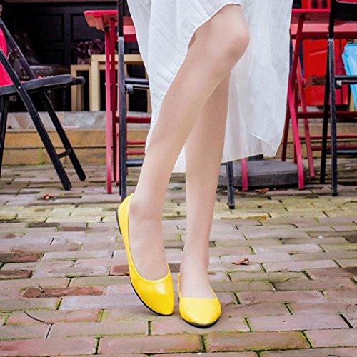 LANDFOX Mujeres Señora Flat Punta Punta De Pie Deslizamiento De Cuero En Loafers Casual Zapatos Amarillo