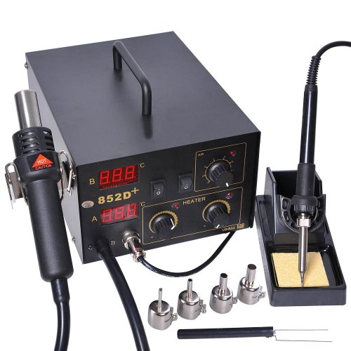 Pro 2in1 SMD BGA Rework LED Digital Display De-solder Station Hot Air Gun + Soldering Iron w/ Nozzles Tips Etc. 110V Electric Power Tool Equipment Unit Work Bench (1 Inch Tips 2 Chair)