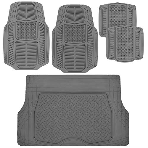 BDK AB110-C3 Gray RuggedDuty Car Rubber Floor Mats w/Cargo Trunk Liner for Auto Sedan SUV Van - Total Protection