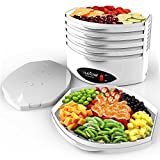 NutriChef 5-Tray Food Dehydrator Machine - Professional Electric Multi-Tier Hanging Food Preserver, Meat or Beef Jerky Maker, Fruit or Vegetable Heat Circulation Dryer - PKFD18WT