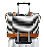 trolley bag makeup - Women Ladies Canvas Weekender Bag Overnight Carry-on Tote Duffel in Trolley Handle (Black Stripe)