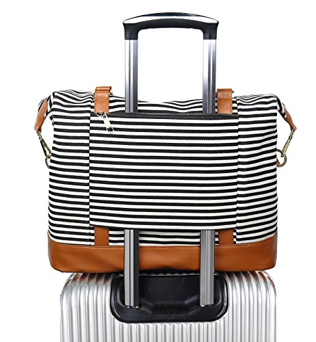 Women Ladies Canvas Weekender Bag Overnight Carry-on Tote Duffel in Trolley Handle (Black Stripe) (Cheapest Way To Put Up A Fence)