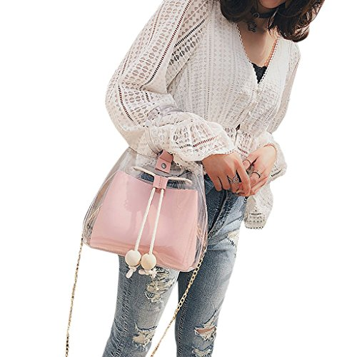 PVC Women's Tote Bags Bag Pink Handbag JAGENIE Shoulder Transparent Pink Beach Cosmetic Chain 1ESXdq