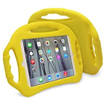 JUN-Q Soft Silicone iPad Air Case for Kids, Shockproof Back Cover with Kickstand 3 Handles for iPad 5 iPad Air 1, Yellow