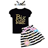 i-Auto Time Baby Girls Clothes Little Big Sister T-Shirt Romper Floral Skirt Headb