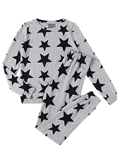 Sweatpants Set - DIDK Women's Allover Star Print Sweatshirt and Sweatpants Pajama Set Grey S