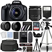 Canon EOS 4000D / Rebel T100 Digital SLR Camera Body w/Canon EF-S 18-55mm f/3.5-5.6 Lens 3 Lens DSLR Kit Bundl