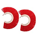 Solememo Exaggerate Big Tassel Earrings for Women Statement Fringe Earrings Big Earrings Tassel 2017 New Fashion Jewelry (Red)