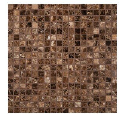 """5/8 x 5/8 Dark Emperador Marble Polished Mosaics Meshed on 12"""" X 12"""" Tiles for Bathroom Flooring, Kitchen Backsplash, Shower Walls"""