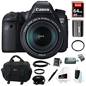 Canon EOS 6D 20.2MP Full Frame DSLR with EF 24-105mm IS STM Lens + 64GB Deluxe Accessory Kit