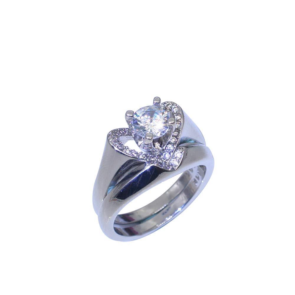 OldSch001 Clearance Women's Delicate 925 Sterling Silver White Diamond Heart Shape Rings(Silver,6)
