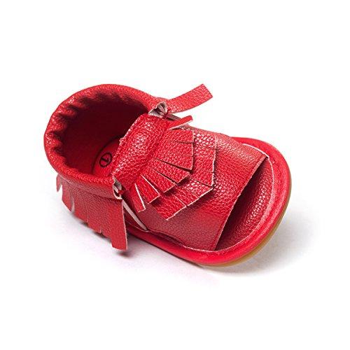 etrack-online bebé niño niña Prewalker de piel sintética borla de Verano Sandalias blanco roto blanco Talla:12-18months rosso