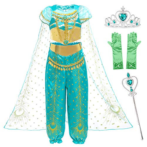 Princess Jasmine Costume Dress for Little Girls Birthday Halloween Party with Gloves,Crown,Wand Accessories 4t 5t