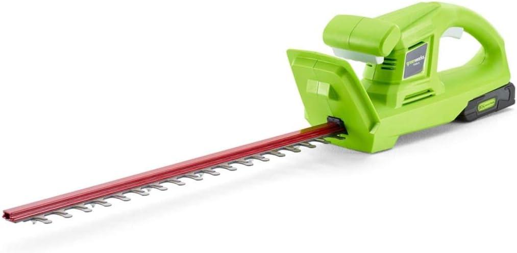 Greenworks Tools Cordless Hedge Trimmer G24HTK2, Li-Ion 24 V 47 cm de longitud de corte 17 mm de espacio entre los dientes 2800 cortes/min mango en forma de T incluyendo batería de 2Ah y cargador