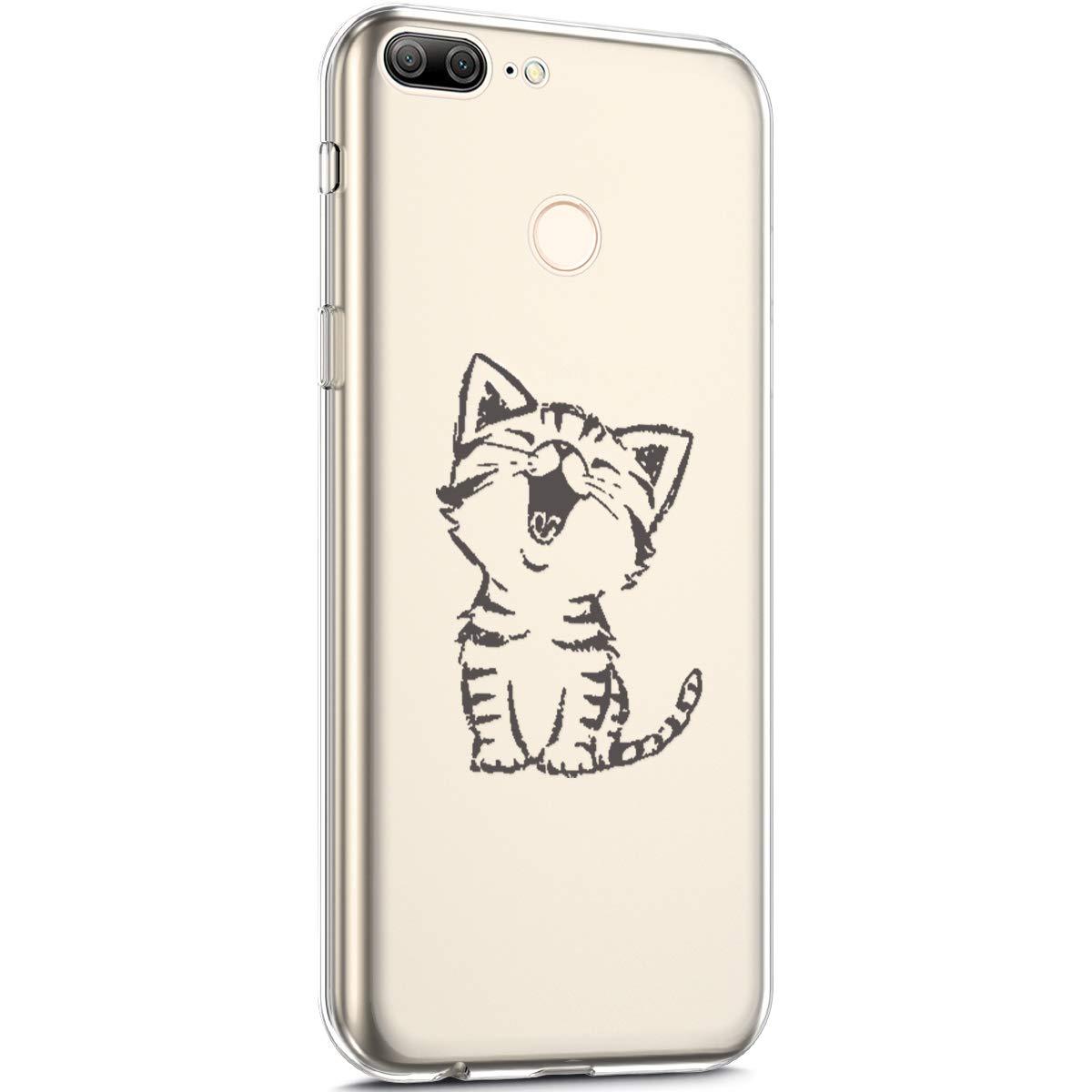 Surakey Cover Huawei Honor 9 Lite, Custodia Silicone Trasparente con Disegni Fiore di Ciliegio Cartoon Divertente Sottile e Leggero Protettiva Skin Crystal Clear Cover per Huawei Honor 9 Lite,Giraffa