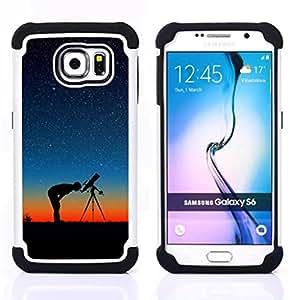 BullDog Case - FOR/Samsung Galaxy S6 G9200 / - / Stars In The Night /- H??brido Heavy Duty caja del tel??fono protector din??mico - silicona suave