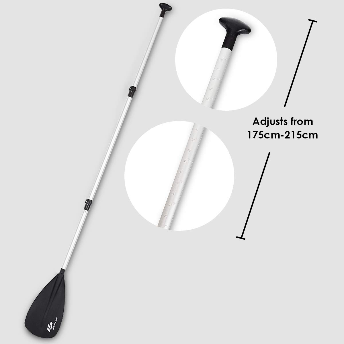 Stand Up Paddleboard Paddle Canoeing 3- piece Extendable Oar Aluminum Alloy Shaft COSTWAY Telescopic Paddle Kayaking with T-shape Handle for Boating Jet Ski