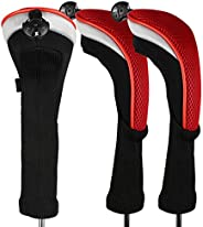 Andux 3pcs/Pack Long Neck Golf Hybrid Club Head Covers with Interchangeable No. Tag CTMT-02
