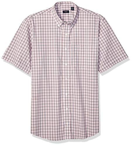 (Arrow 1851 Men's Big and Tall Hamilton Poplins Short Sleeve Button Down Plaid Shirt, Shark Skin, 3X-Large)