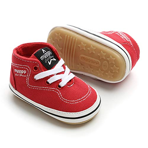 Baby Girls Boys Canvas Shoes Soft Sole Toddler First Walker Infant High-Top Ankle Sneakers Newborn Crib Shoes (M: 4.73 inch(6-12 Months), D - Red) ()