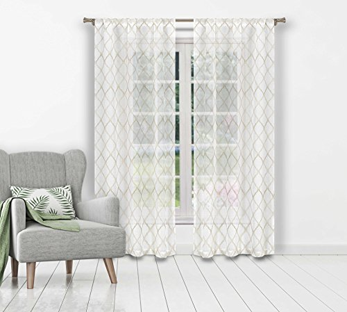 (Bathroom and More Collection Set of Two (2) SHEER Window Curtain Panels: Embroidered Moroccan Trellis Design with Taupe and Metallic Silver (Panel Pair (2) 84