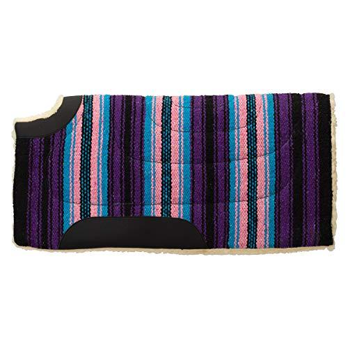 Weaver Leather 35-1669-P7 Pony Acrylic Saddle Pad, Cut Back, Pink/Purple Stripe