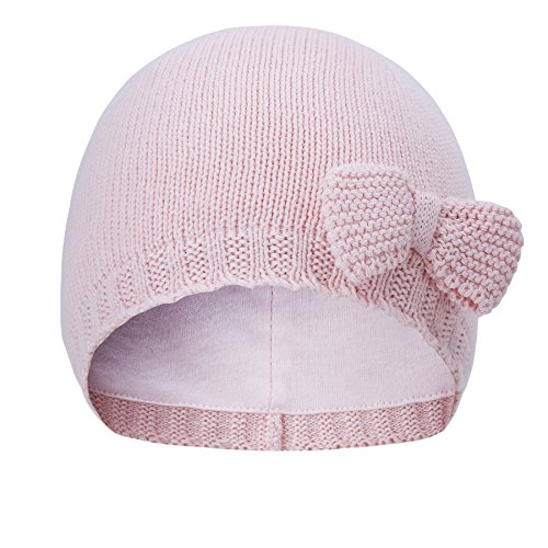 Vivobiniya Toddler baby Girl lovely bowknot knit hats Baby hats 6m-4years old (6-12m(Head circumference 17.3-18.8in), pink)