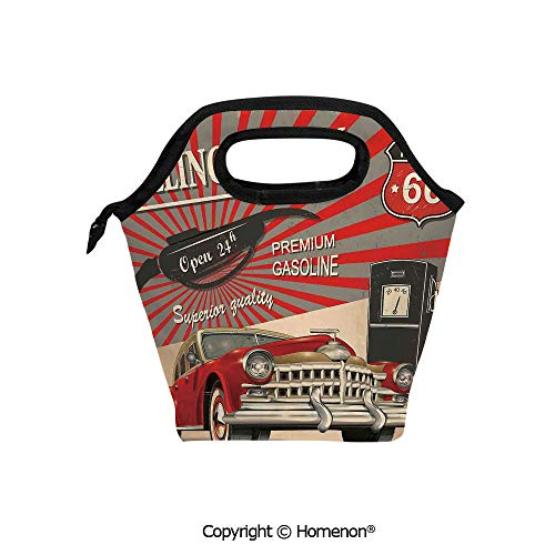 Insulated Neoprene Soft Lunch Bag Tote Handbag lunchbox,3d prited with Poster Style Gasoline Station Commercial Kitschy Element Route 66,For School work Office Kids Lunch Box & Food Container