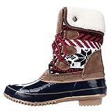 Khombu Womens Jenna Closed Toe Mid-Calf Cold Weather Boots, Navy/Tan, Size 7.0