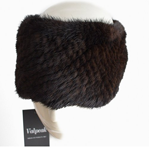 Valpeak Womens Winter Scarves or Headbands Knitted Mink Fur Strong Elasticity (Brown)