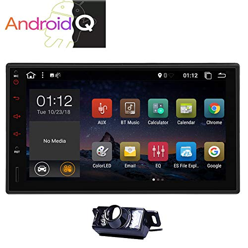 Android 10 Double 2 Din Stereo GPS Navigation 7inch Capacitive Muti-Touchscreen Car Radio in Dash Head Unit Audio Video System Support Remote FM AM RDS Phone Mirror WiFi USB SD with Back up Camera