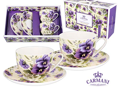 - Carmani CR-840-1021, 7 Oz Cups & Saucers w/Pansies Painting, Floral Designed Porcelain Cups, Teacup, Enamel Coffee Mug, Gift Idea, Set of 2