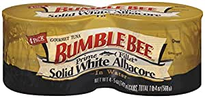 Bumble Bee Prime Fillet Solid White Albacore Tuna in Water, 5oz cans (Pack of 4)