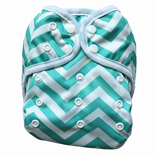 One Size Cloth Diaper Cover Snap With Double Gusset (Green Chevron)