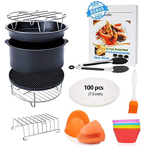 7 inch General Air Fryer Accessories 11 pcs with Recipe Cookbook, Compatible for COSORI Philips Gowise USA Airfryer 3.2QT - 3.5QT - 3.7QT, Deluxe Deep Fryer Accessories Set of 12...