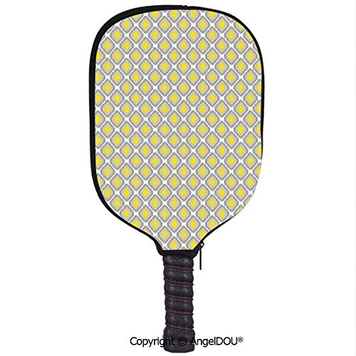 AngelDOU Ikat Lightweight Neoprene Pickleball Paddle/Racket Cover Case Surreal Geometric Pattern with Squares with Vintage Color Palette Illustration Decorative Durable and Portable.Grey Yellow White