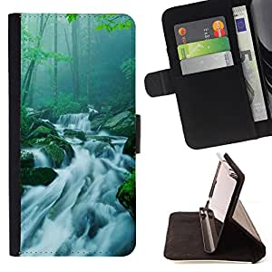 DEVIL CASE - FOR Samsung Galaxy Core Prime - Nature Bamboo Waterfall - Style PU Leather Case Wallet Flip Stand Flap Closure Cover