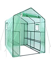 """55.5"""" x 56.3"""" x 76.8"""" Greenhouse for Outdoors with Observation Windows (New Version), Ohuhu Large Walk-In Plant Greenhouse, 3 Tiers 12 Shelves Stands Green House, Bonus Ground Pegs & Ropes for Stability, 4.9 X 4.7 X 6.4 FT Sun House, Warm House for Plant in Winter"""