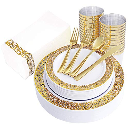 (160pcs Gold Plastic Plates, Gold Disposable Silverware with Gold Napkins, Includes: 40 Forks, 20 Spoons, 20 Knives, 20 Dinner Plates, 20 Dessert Plates, 20 Tumblers 10 Oz, 20 Guest Towels)