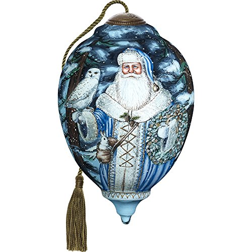 Ne'Qwa Precious Moments, Art 7171102 Hand Painted Blown Glass Santa of The North Ornament Limited Edition Princess Shaped, (Limited Edition Glass Ornament)