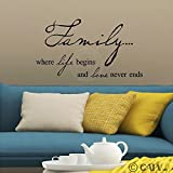 Family where life begins and love never ends vinyl lettering wall decal sticker (Black, 12.5x22)
