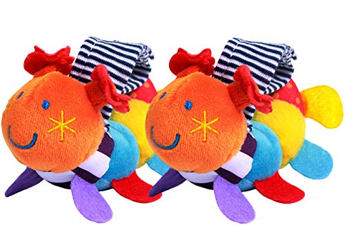 CC-US (1 Pair) Baby Soft Plush Caterpillar Wrist Rattle Infant Hand Bell Wristband Developmental Toy for Kids