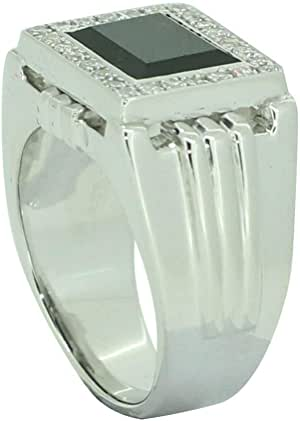 Fashion Ring For Men Silver 925,Inlaid With Zirconia And Onyx,Size 49,RT-47