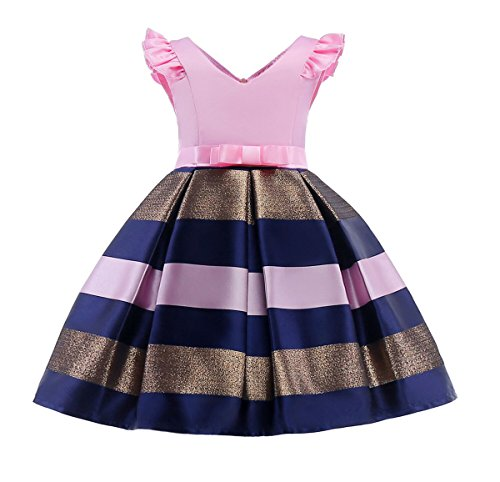 Flower Girls Dresses Kids Christmas Day Ball Gown Striped Party Gorgeous Dress Sleeveless(Pink,100) - Holiday Party Suits Dresses