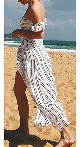 Split Off Striped 1 Women's Shoulder Chiffon Jaycargogo Sexy Dresses Summer Backless Maxi O84xw5q