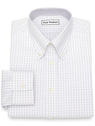 Non Fredrick Iron Paul (Paul Fredrick Men's Non-Iron Cotton Check Dress Shirt Grey 16.5/37)