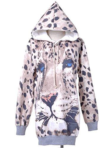 Anna-Kaci Womens Multicolor Snow Leopard Animal Print Long Sleeve Tunic Hoodie