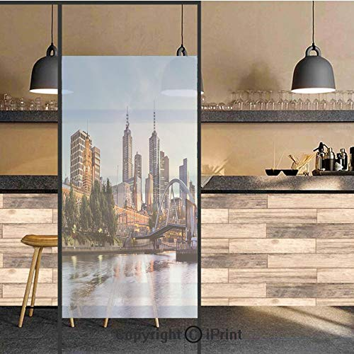 3D Decorative Privacy Window Films,Early Morning Scenery in Melbourne Australia Famous Yarra River Scenic,No-Glue Self Static Cling Glass Film for Home Bedroom Bathroom Kitchen Office 24x48 Inch -