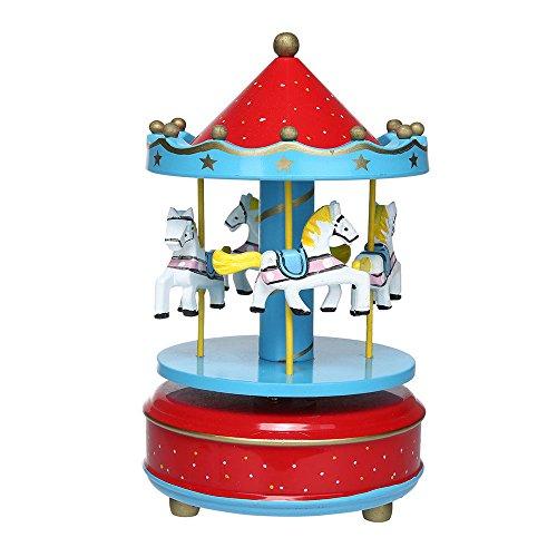 Aparts Hand-painted Wooden Carousel Music Box Merry-Go-Round Horse Music Box Kids Children Girls Christmas Birthday Gift Toy Wedding Decor (Star Red)